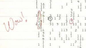 La feuille avec les chiffres (entourés)  du signal Wow!